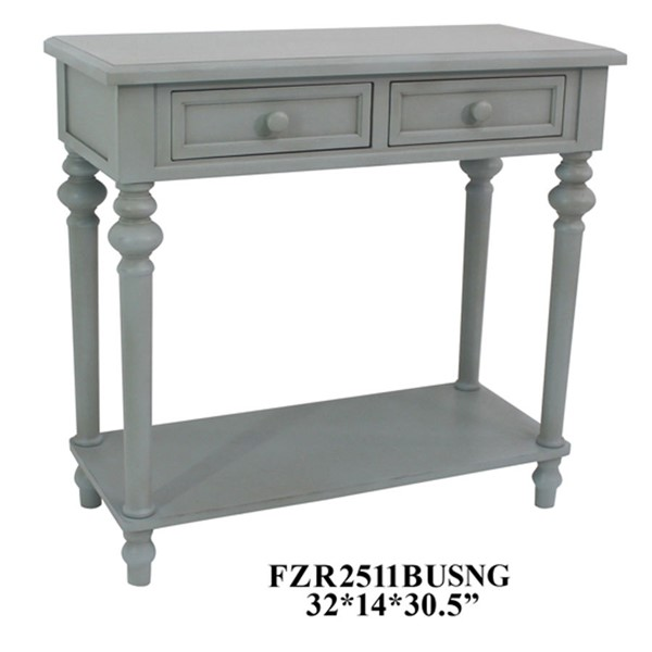 Crestview Collection Grey 2 Drawers Sofa Table CRST-FZR2511BUSNG