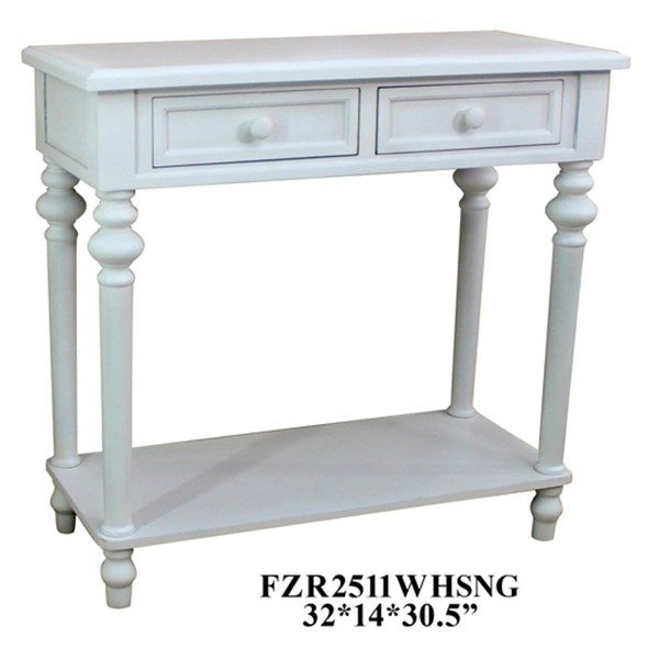 Crestview Collection White 2 Drawers Sofa Table CRST-FZR2511WHSNG