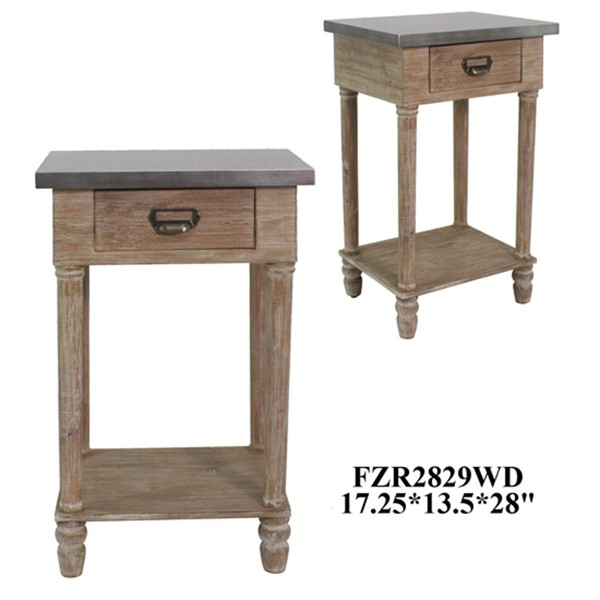 Crestview Collection Wooden Drawer End Table CRST-FZR2829WDSNG