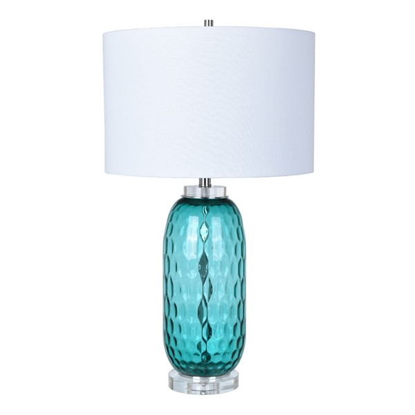 2 Crestview Collection Intrada Turquoise White Table Lamps CRST-CVABS1251
