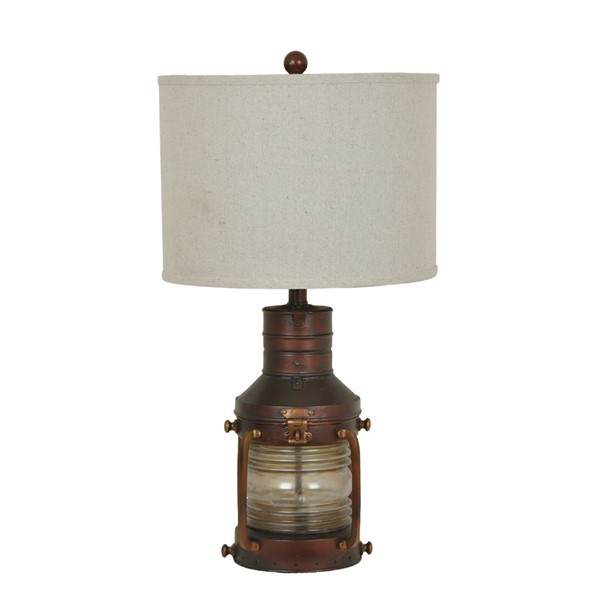 Crestview Collection Copper Antique Brown Natural Lantern Table Lamp CRST-CVABS964