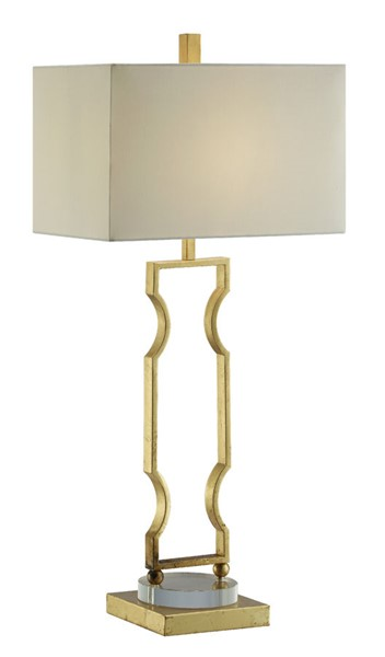 2 Crestview Collection Carlisle Gold Leaf White Table Lamps CRST-CVAER1069