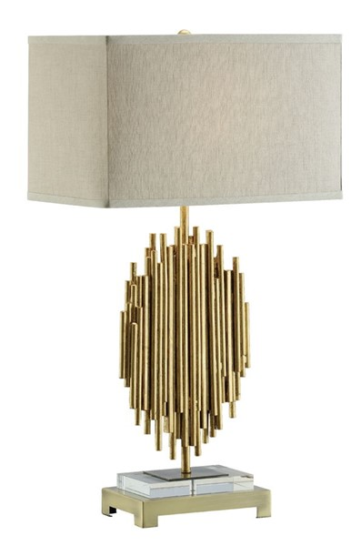 Crestview Collection Galveston Gold Leaf Natural Table Lamp CRST-CVAER962