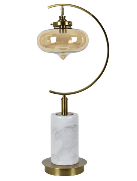 Crestview Collection Dempsey White Champagne Table Lamp CRST-CVAMB0015
