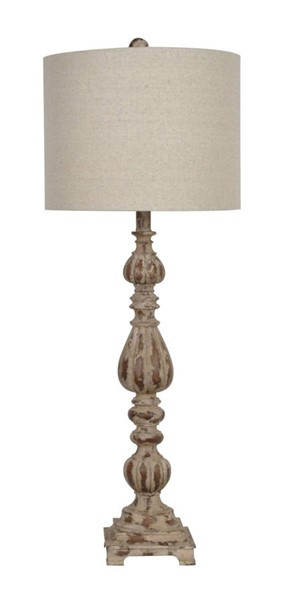 2 Crestview Collection Slender Avian Antique White Wash Lamps CRST-CVAUP699