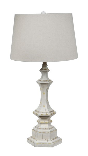 2 Crestview Collection White Wash Natural Wooden Column Table Lamps CRST-CVAUP739