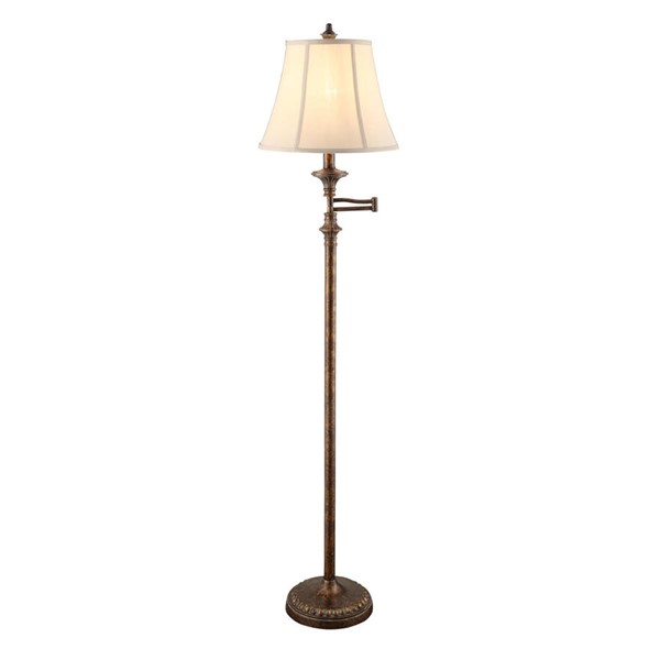 2 Crestview Collection Barton Bronze Ecru Swing Arm Floor Lamps CRST-CVAVP044A