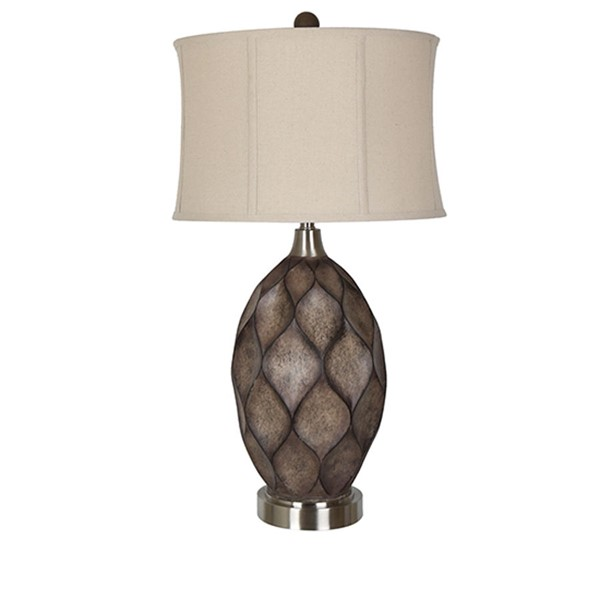 Crestview Collection Kimball Brushed Nickel Oatmeal Table Lamp CRST-CVAVP1038