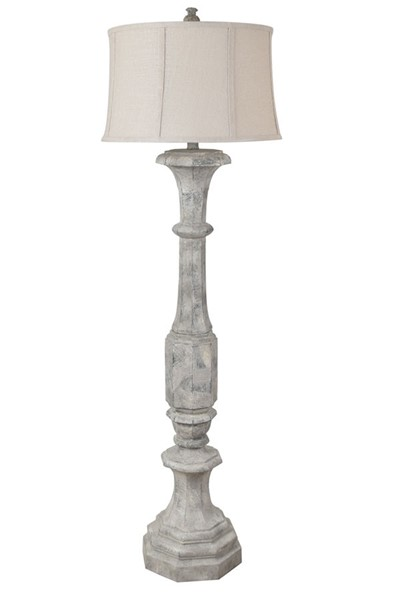 Crestview Collection Fenton Rustic White Burlap Floor Lamp CRST-CVAVP1339