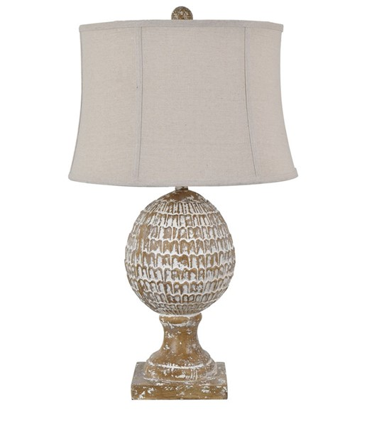 Crestview Collection Pagosa White Washed Oatmeal Table Lamp CRST-CVAVP1400