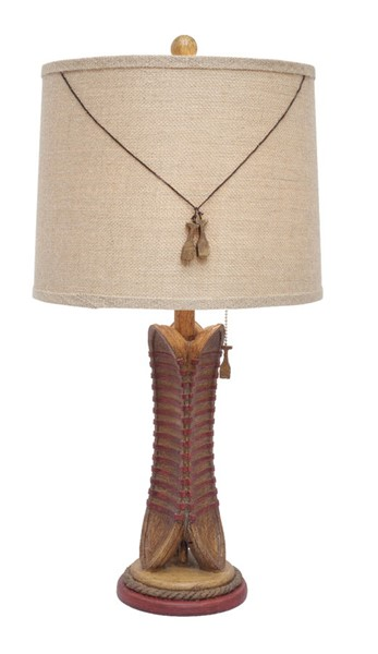 2 Crestview Collection Canoe Burlap Table Lamps CRST-CVAVP174