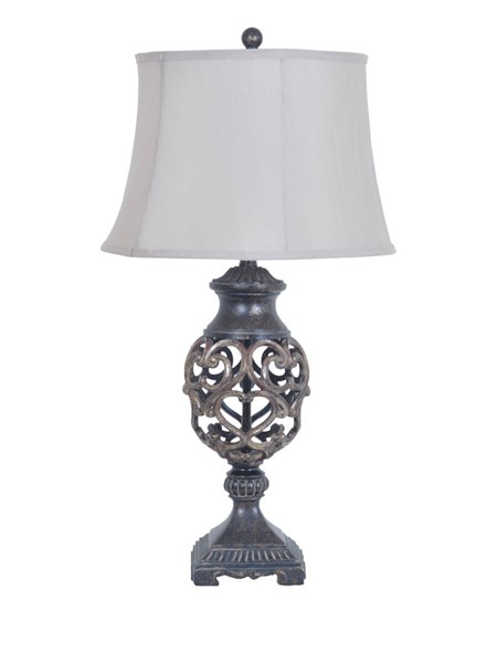 2 Crestview Collection Scrolled Silver Bronze Taupe Table Lamps CRST-CVAVP235
