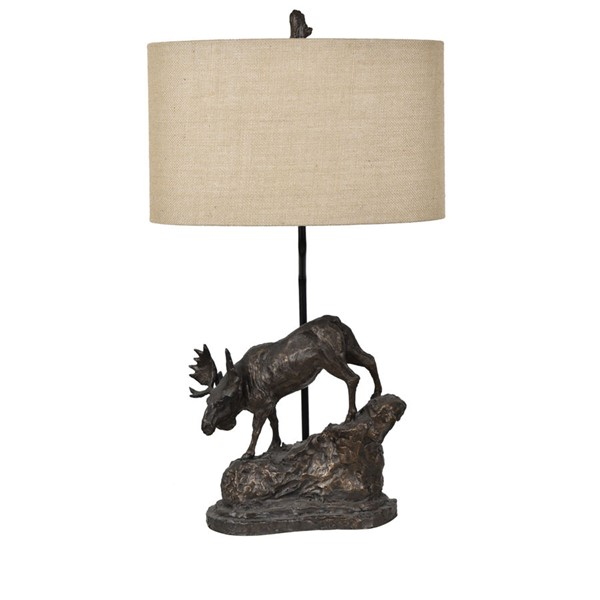 2 Crestview Collection Moose Antique Bronze Burlap Trail Table Lamps CRST-CVAVP877