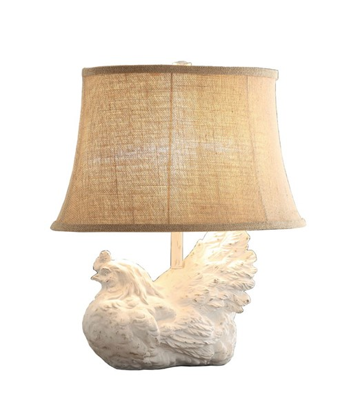 2 Crestview Collection Rooster White Washed Burlap Table Lamps CRST-CVAVP894