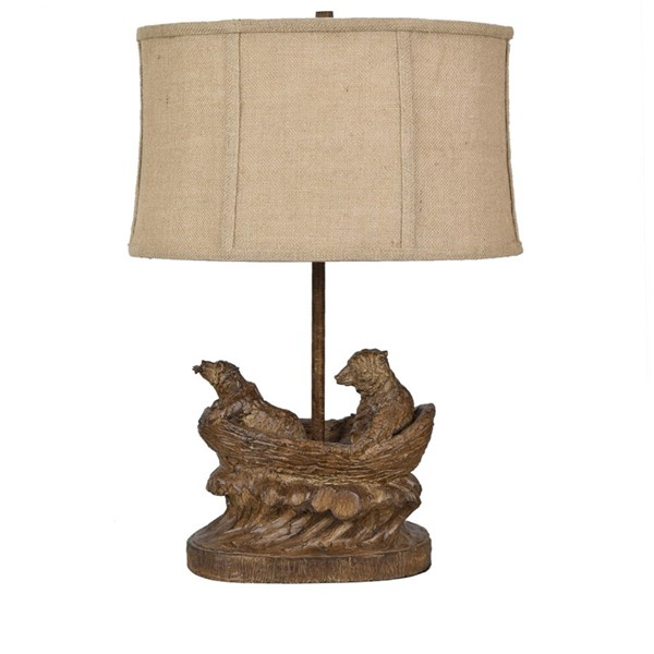 2 Crestview Collection Bear Expedition Burlap Table Lamps CRST-CVAVP913
