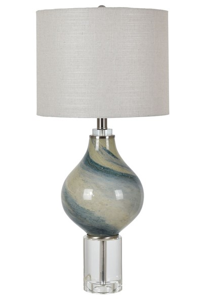 Crestview Collection Piper Aqua White Table Lamp CRST-CVAZBS054
