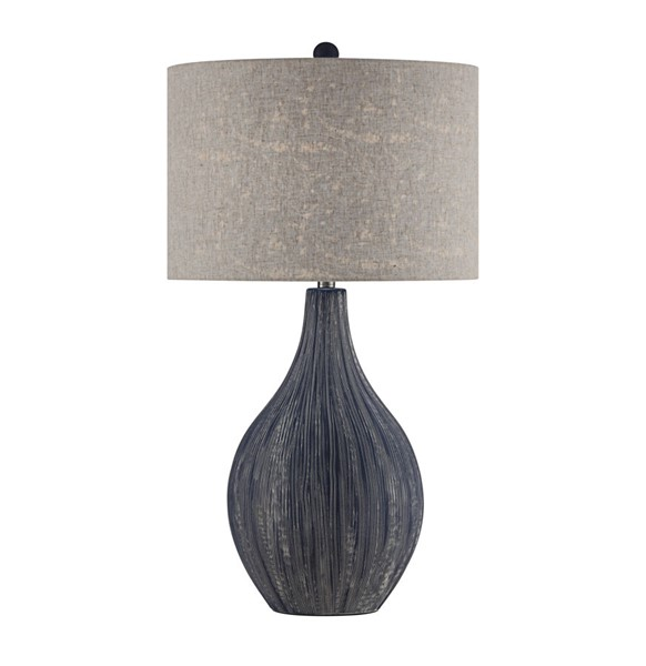 Crestview Collection Dillon Natural Navy Blue Table Lamp CRST-CVAZP023B
