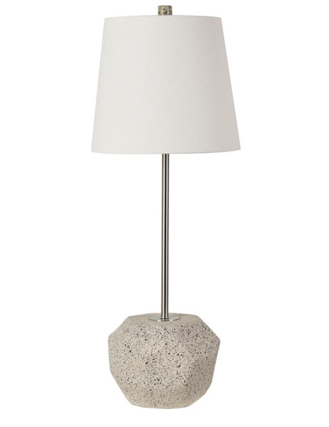 2 Crestview Collection Fiesta White Faceted Terrazzo Stick Lamps CRST-CVAZVP049