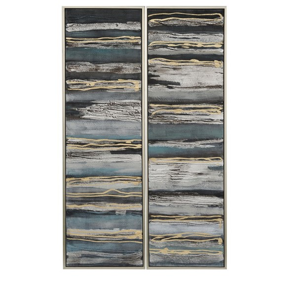 Crestview Collection Silver Abstract Oil Painting 2pc Wall Art CRST-CVBZWF059