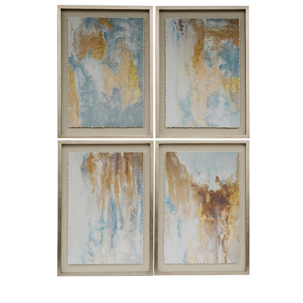 Crestview Collection Abstract Oil Painting Solid Wood 4pc Wall Art CRST-CVBZWF062