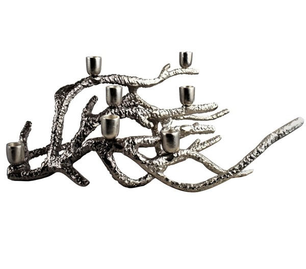 Crestview Collection Silver Ombre Large Channing Coral Candle Holder CRST-CVCZHN001BL
