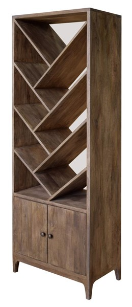 Crestview Collection Bengal Manor Mango Wood Angled Etagere Bookcase CRST-CVFNR479