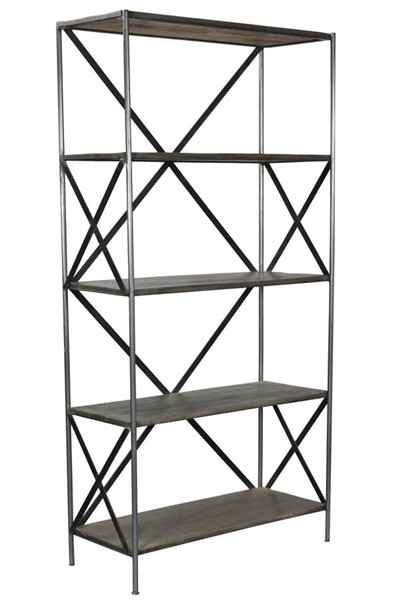 Crestview Collection Bengal Manor Grey Mango Wood Scraped Etagere Bookcase CRST-CVFNR678