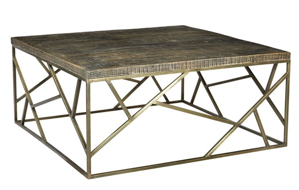 Crestview Collection Bengal Manor Burnished Ebony Gold Square Cocktail Table CRST-CVFNR682