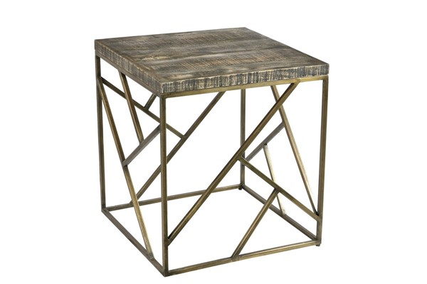 Crestview Collection Bengal Manor Burnished Ebony Gold Square End Table CRST-CVFNR683