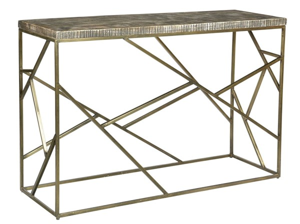 Crestview Collection Bengal Manor Burnished Ebony Gold Rectangle Console Table CRST-CVFNR684