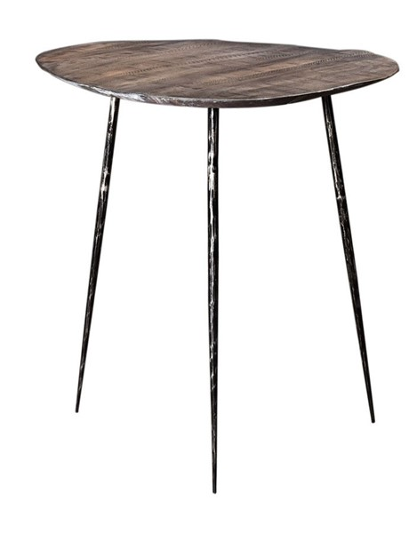 Crestview Collection Bengal Manor Distressed Grey Guitar Pick End Table CRST-CVFNR712