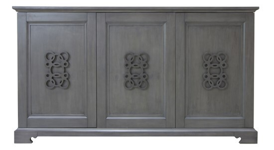 Crestview Collection Hawthorne Estate Grey Wash Fretwork Sideboard CRST-CVFVR8146