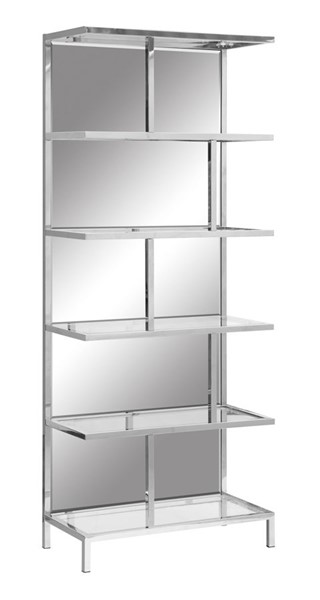 Crestview Collection Bentley Chrome Mirror Etagere Bookcase CRST-CVFZR4008