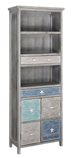 Crestview Collection Key West Grey Driftwood Nautical Cabinet CRST-CVFZR4048