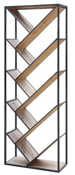 Crestview Collection Seville Wood Angled Etagere Bookcase CRST-CVFZR4095