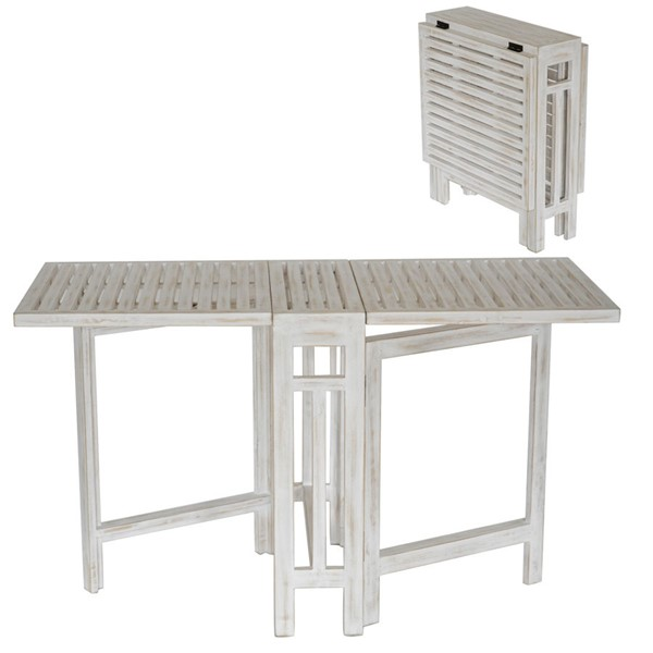 Crestview Collection Savannah White Wash Folding Dining Table CRST-CVFZR5068