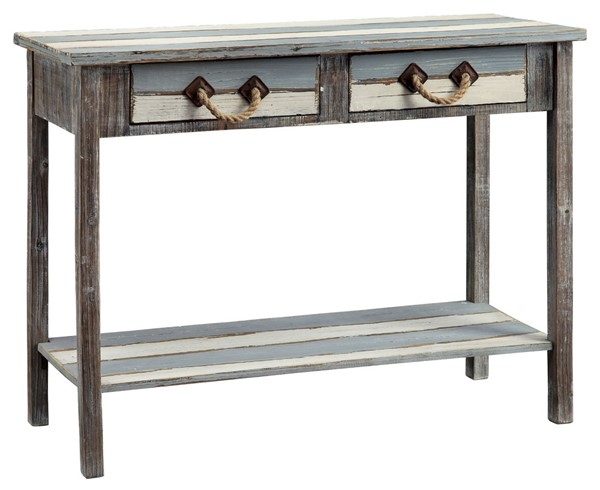 Crestview Collection Nantucket Weathered 2 Drawers Console Table CRST-CVFZR696