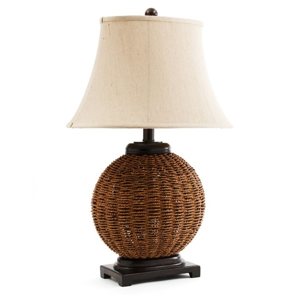 2 Crestview Collection Latham Light Brown Wicker Table Lamps CRST-CVNAM638