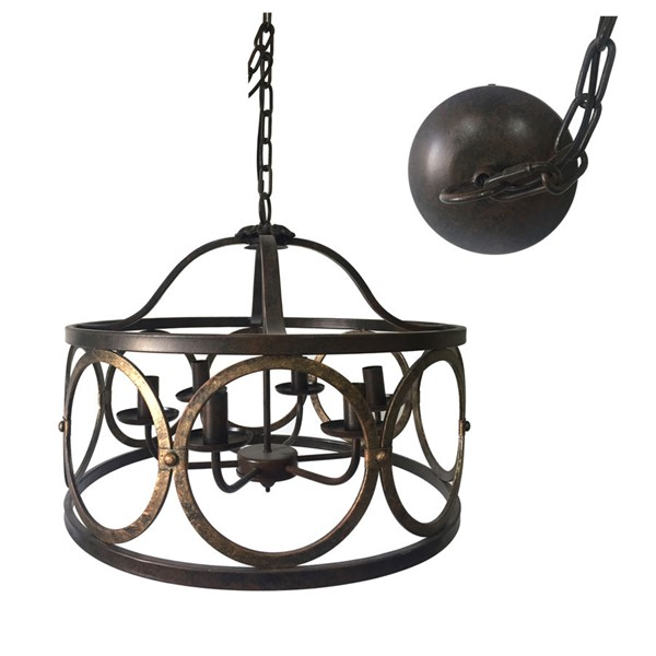 Crestview Collection Regant Golden Bronze 5 Light Chandelier Lamp CRST-CVPDA005