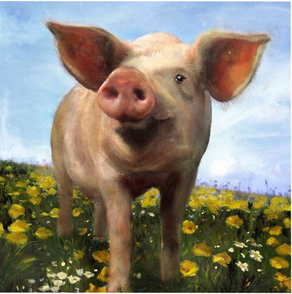 Crestview Collection Pig Out Hand Painted Canvas Wall Art CRST-CVTOP1920