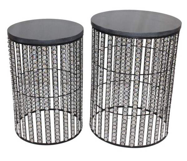 Crestview Collection Black 2pc Side Table Set CRST-FNR1036BK