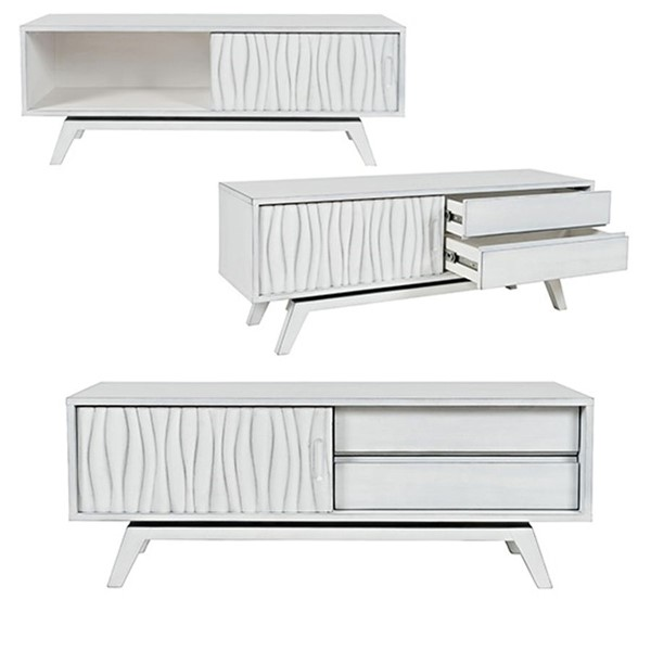Crestview Collection White Media Storage TV Stand CRST-FVR0013WH