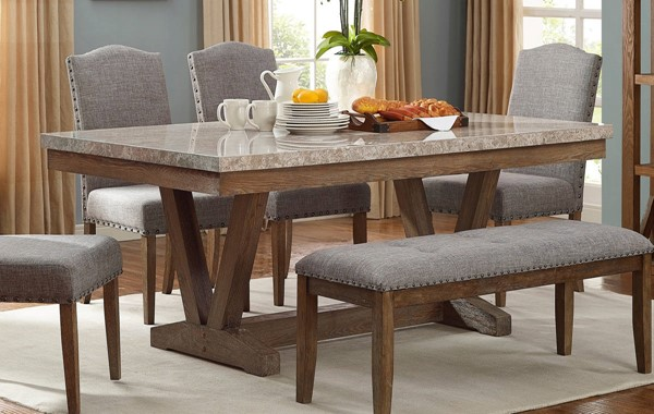 Crown Mark Vesper Brushed Dust Paint Rectangle Dining Table CRW-1211T-4272
