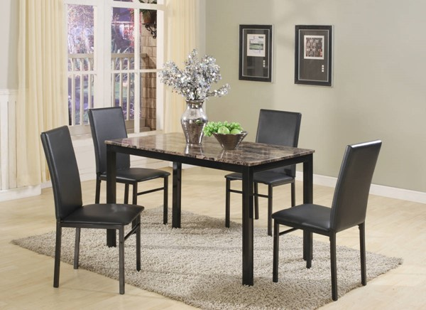 Crown Mark Aiden Black 5pc Dinette Set CRW-1217SET