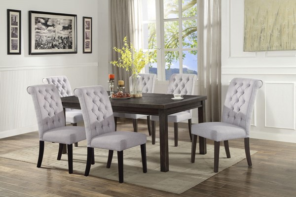 Crown Mark Palmer Brown White 7pc Dining Room Set CRW-2022T-4072-DR-S2