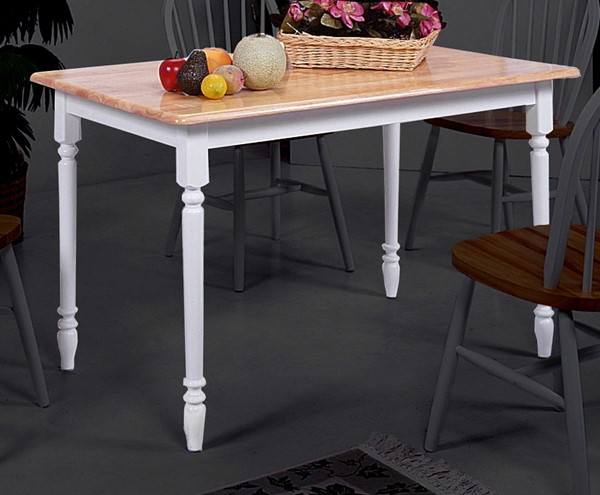Crown Mark Windsor White Natural Solid Top Dining Table CRW-2302-WH-NAT