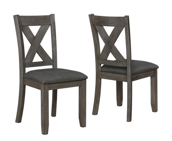 2 Crown Mark Favella Dark Grey Side Chairs CRW-2323DGY-S