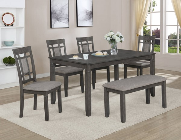 Crown Mark Paige Grey 6pc Dinette Set with Bench CRW-2325SET-GY