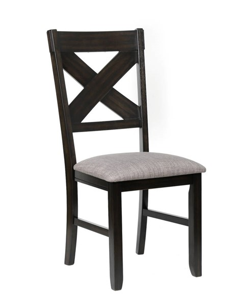 2 Crown Mark Havana Dark Brown Grey Side Chairs CRW-2336S