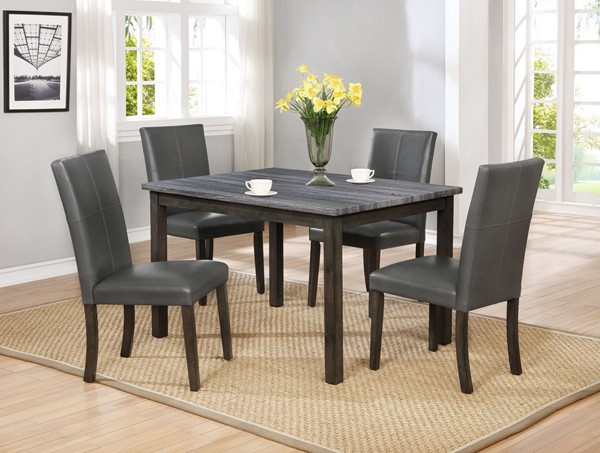 Crown Mark Pompei Grey 5pc Dining Room Set CRW-2377GY-T-3648-DR-S2